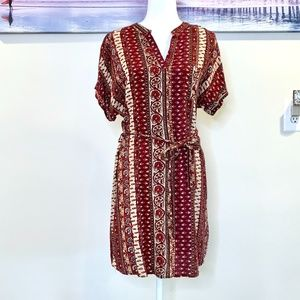 Forever 21 Boho Button Up Tie Waste Dress